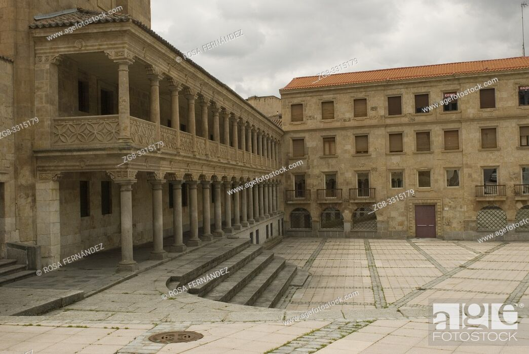 Stock Photo: Arcaded square of San Roman with stony stair, city of Salamanca, Castilla y Leon, Spain.