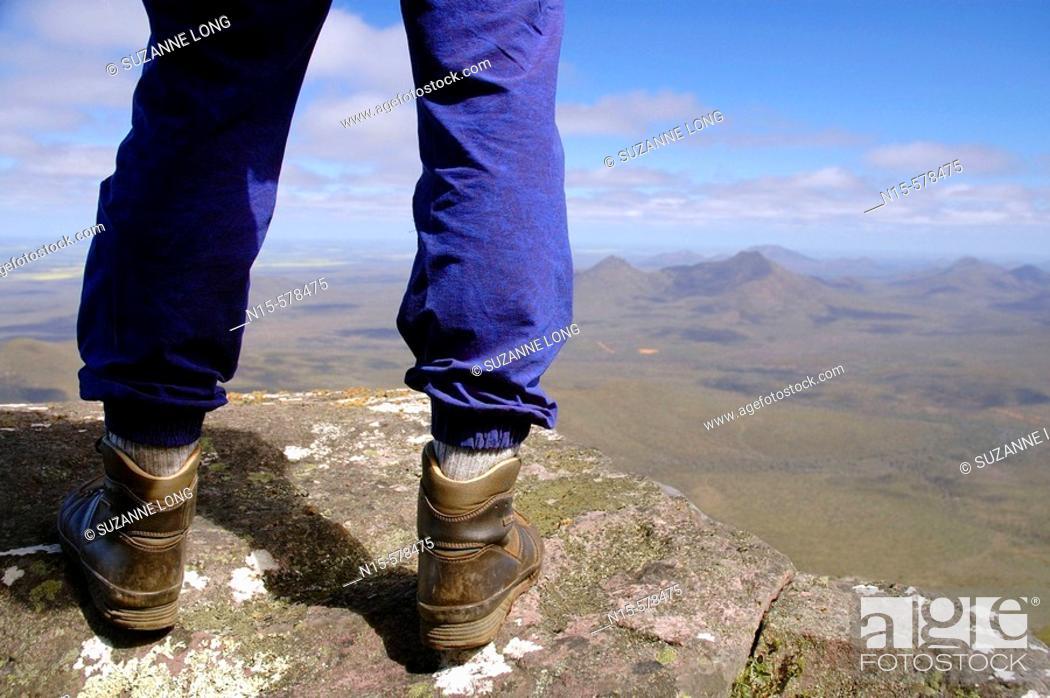 Stock Photo: Hiker on top of the world - Mt Toolbrunup, Stirling Range National Park, Western Australia.