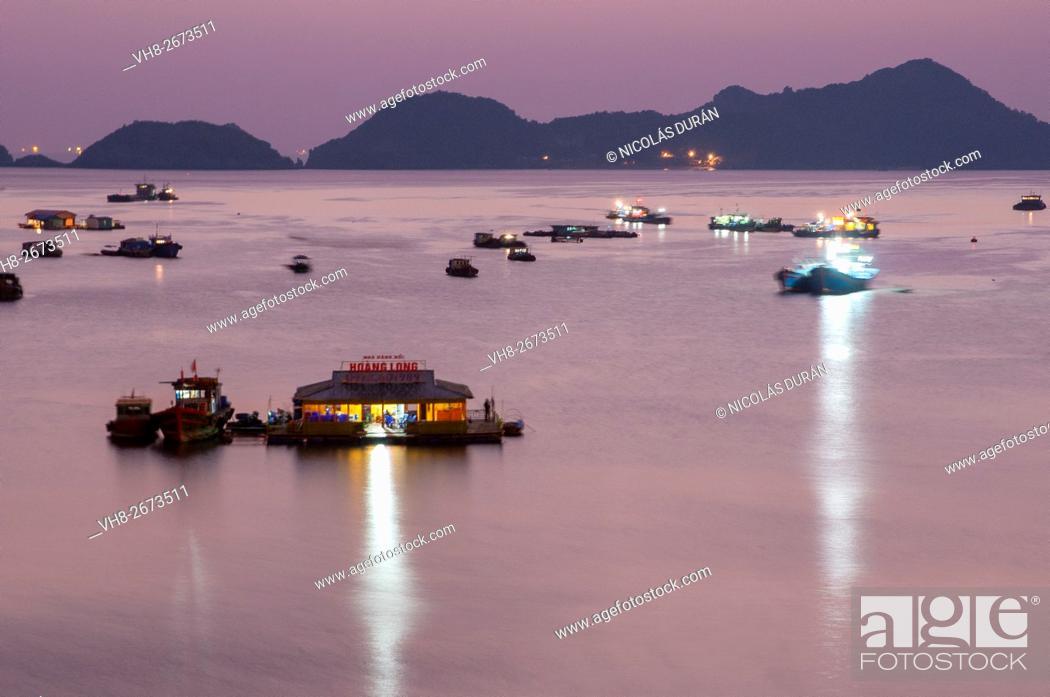 Stock Photo: Sunset in Bay Cat Bát. Cat Bat Island. Halong Bay. Vietnam.