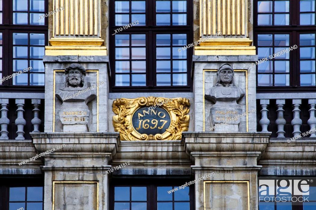 Stock Photo: Detail of La Maison des Ducs de Brabant in the Grand Place Brussels Belgium.