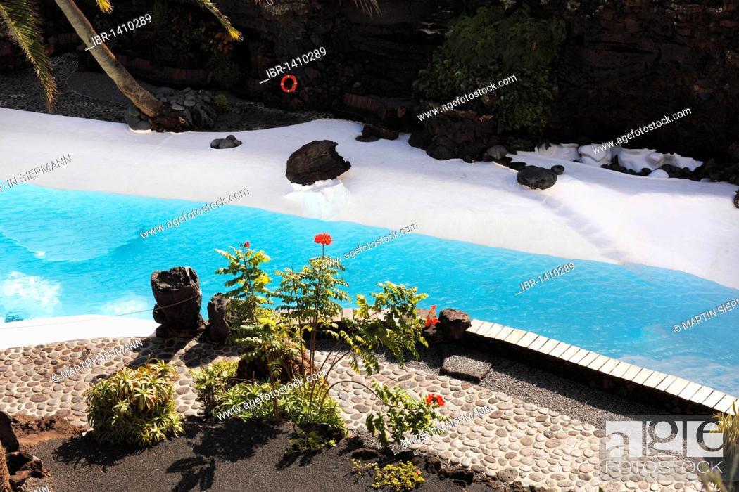 Stock Photo: Pool, Jameos del Agua, designed by César Manrique, Lanzarote, Canary Islands, Spain, Europe.