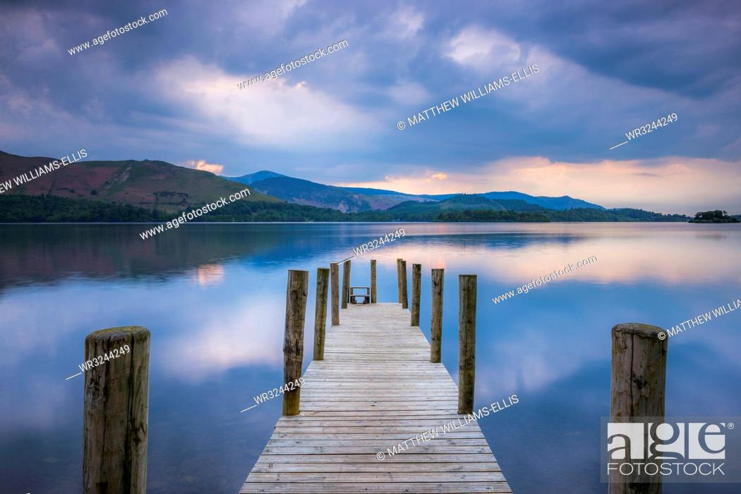 Stock Photo: Pier at Derwent Water (Derwentwater) at sunset, Lake District National Park, UNESCO World Heritage Site, Cumbria, England, United Kingdom, Europe.