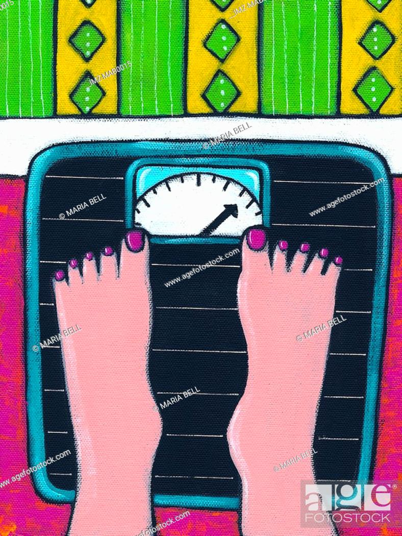 Stock Photo: A close up of a womans feet standing on a scale.
