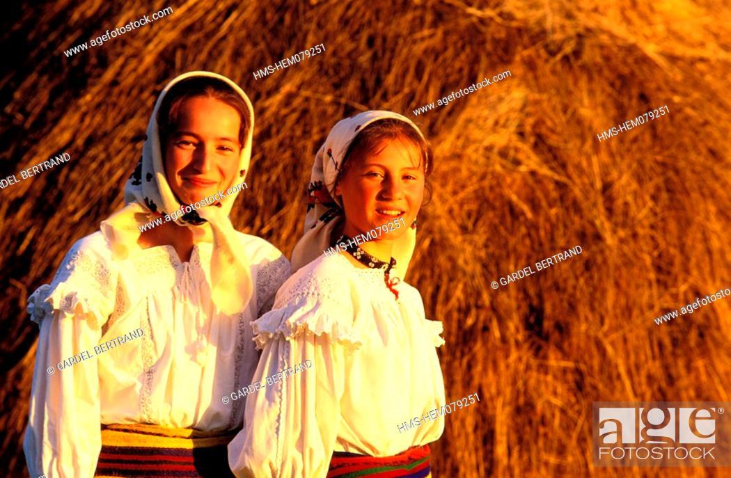 Stock Photo - Romania Maramures Carpathians mountains celebration in Botiza traditional costumes  sc 1 st  Age Fotostock & Romania Maramures Carpathians mountains celebration in Botiza ...