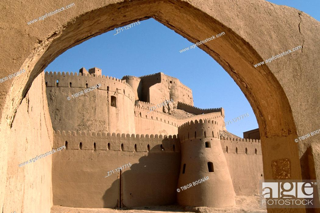 Stock Photo: Iran, Kerman province, Bam, Argh-é Bam Citadel.
