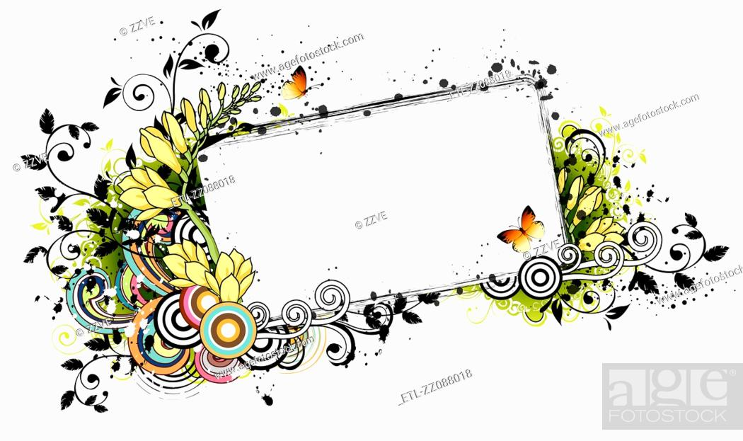 Stock Photo: Rectangular frame with flora elements.