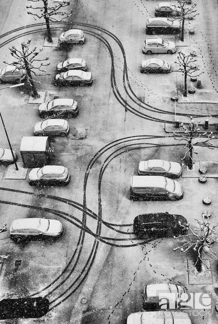 Stock Photo: patterns in snow, parking scene, Geneva, Switzerland.