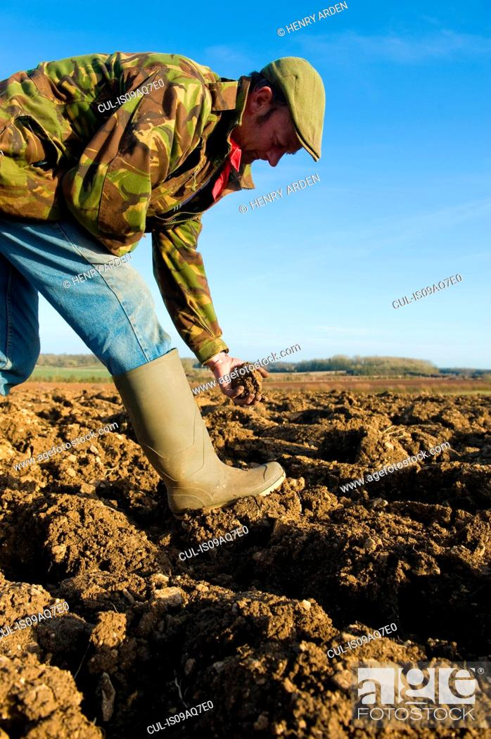 Stock Photo: Farmers inspecting soil in ploughed field.