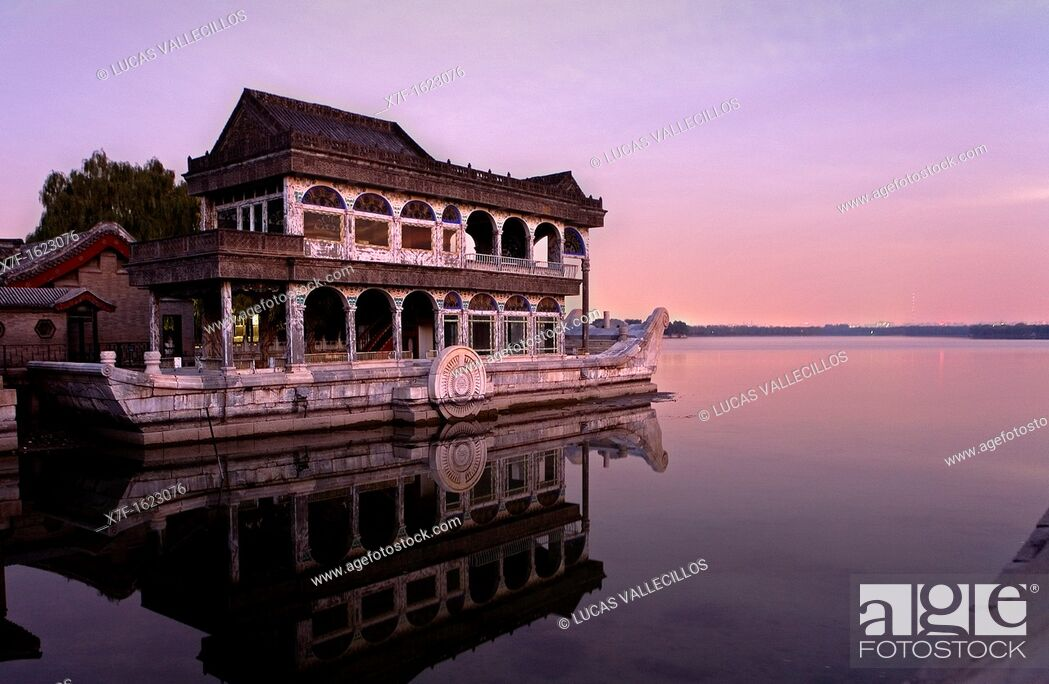 Stock Photo: Summer Palace, in Kunming Lake  The Marble Boat, Beijing, China.