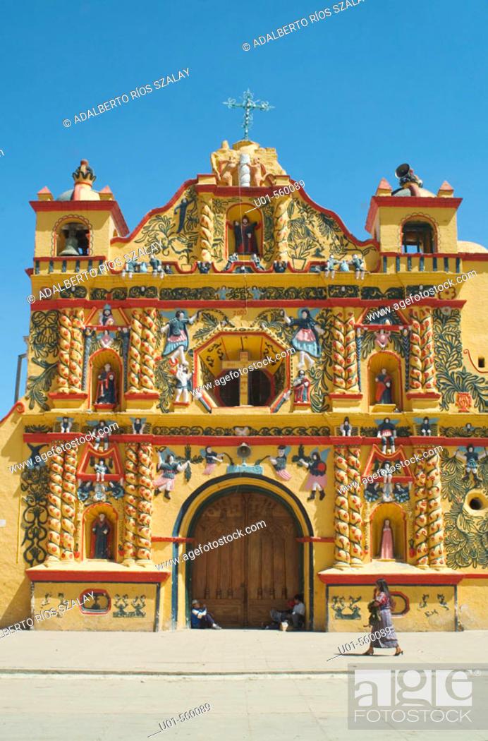 Stock Photo: Parish church in San Andrés Xejul (16th century) with polychromatic main front. Guatemala.