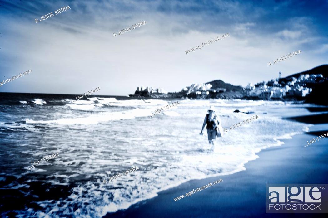 Stock Photo: Bath in the beach, Cabo de Gata, Almeria province, Andalucia, Spain.