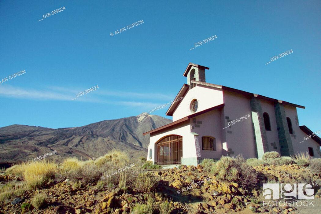 Stock Photo: Mount Teide and Ermita de las Nieves, Parque Nacional del Teide. Tenerife, Canary Islands. Spain.