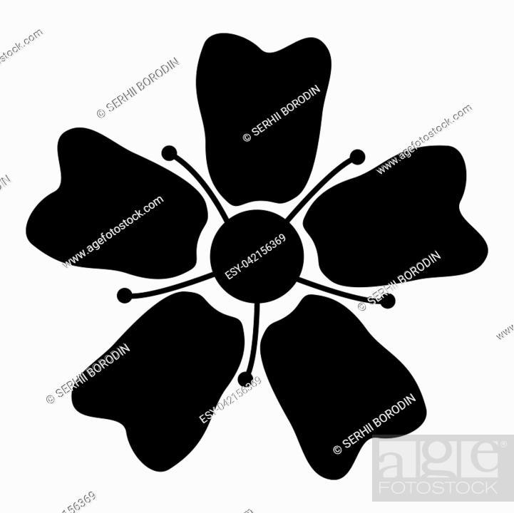 Stock Vector: Flower Sakura icon black color vector illustration flat style simple image.