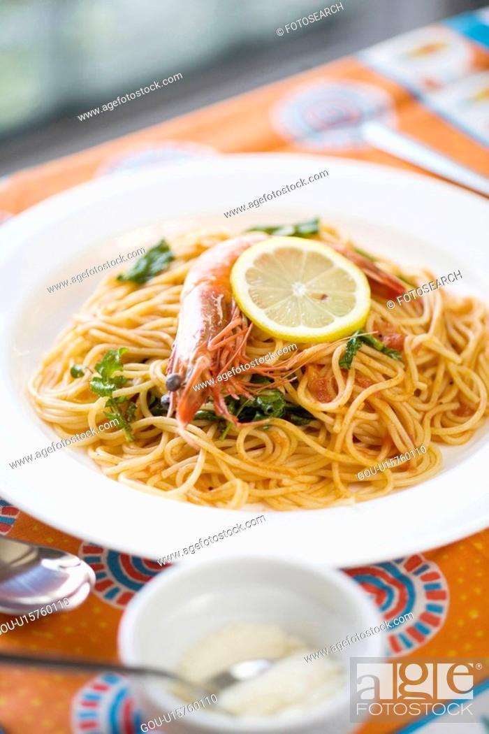 Stock Photo: Tomato sauce spaghetti.