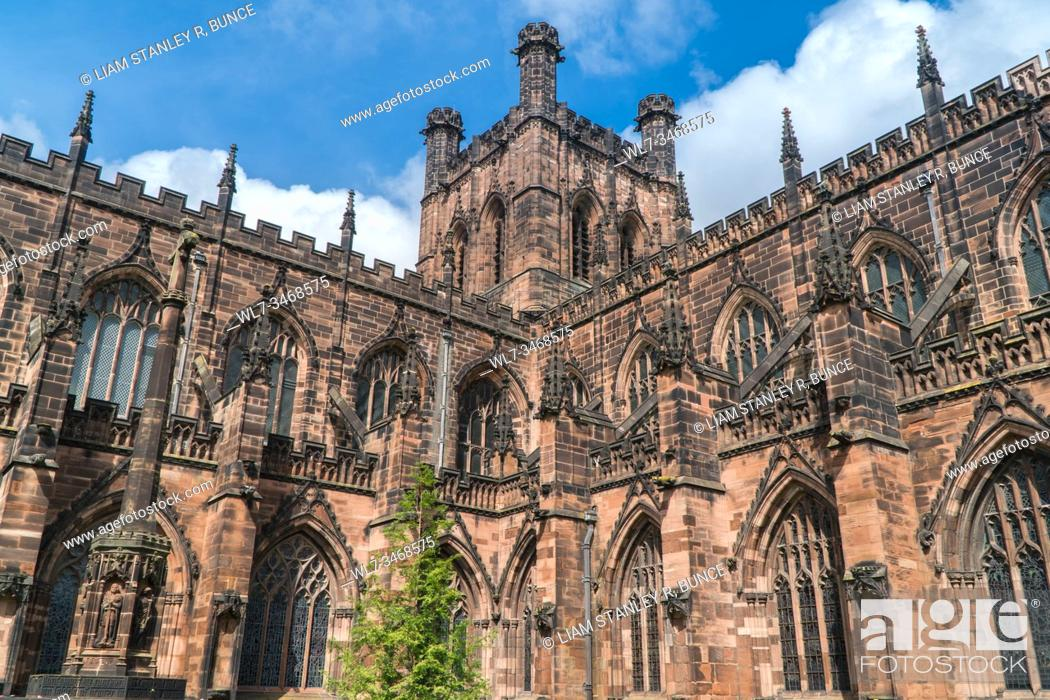 Stock Photo: South easterly view of Chester Cathedral, Cheshire UK. May 2019.