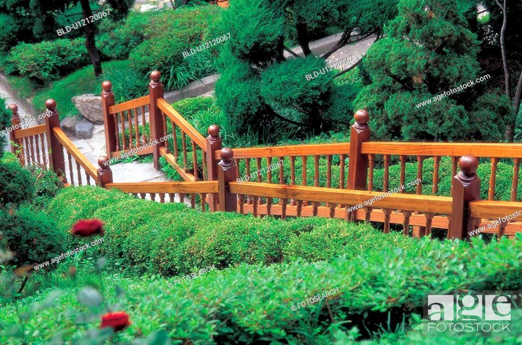 Stock Photo: garden, scenery, park, city, landscape, step.