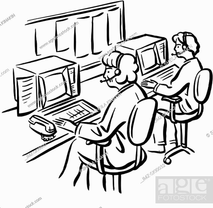 Stock Photo: Operators sitting at their workstations.