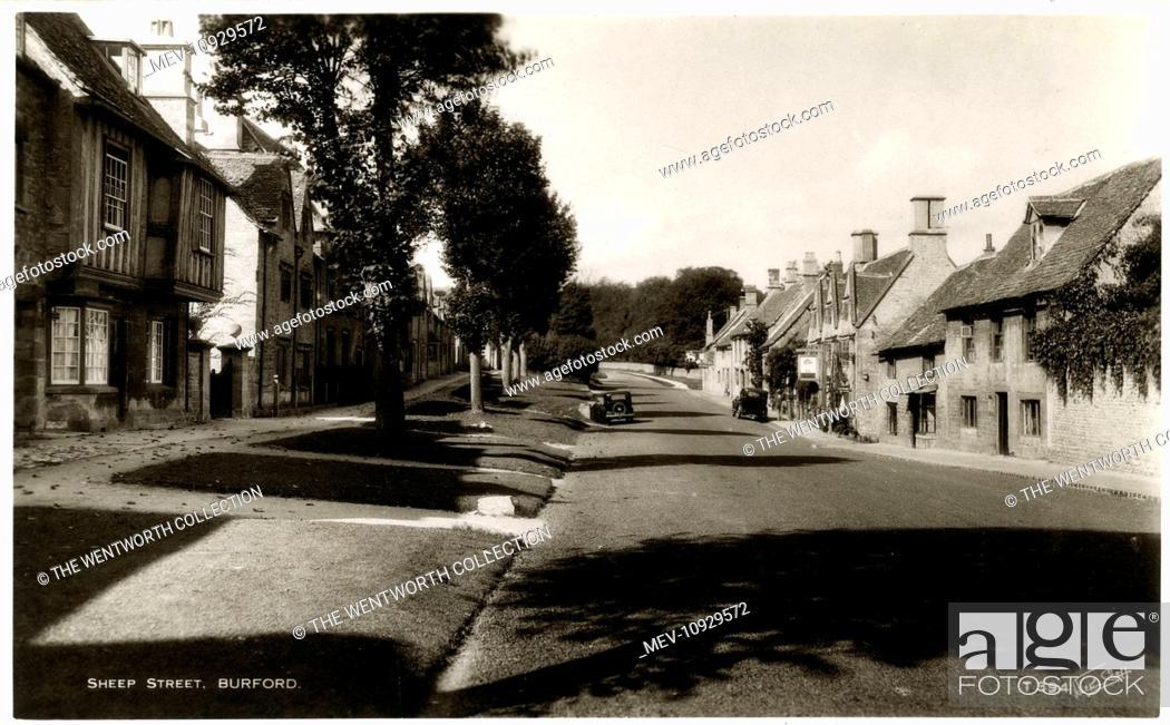 Stock Photo: Sheep Street, Burford, near Witney, Oxfordshire, England.