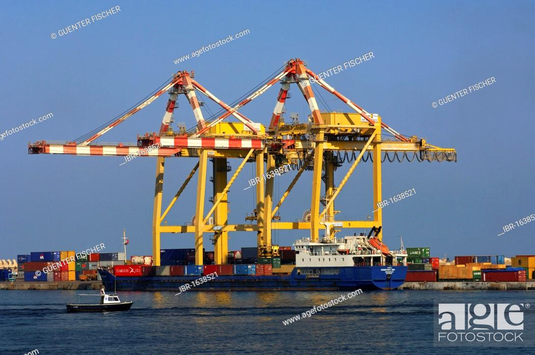 Stock Photo: Container ship in the port of Muscat, Sultanate of Oman, Middle East.