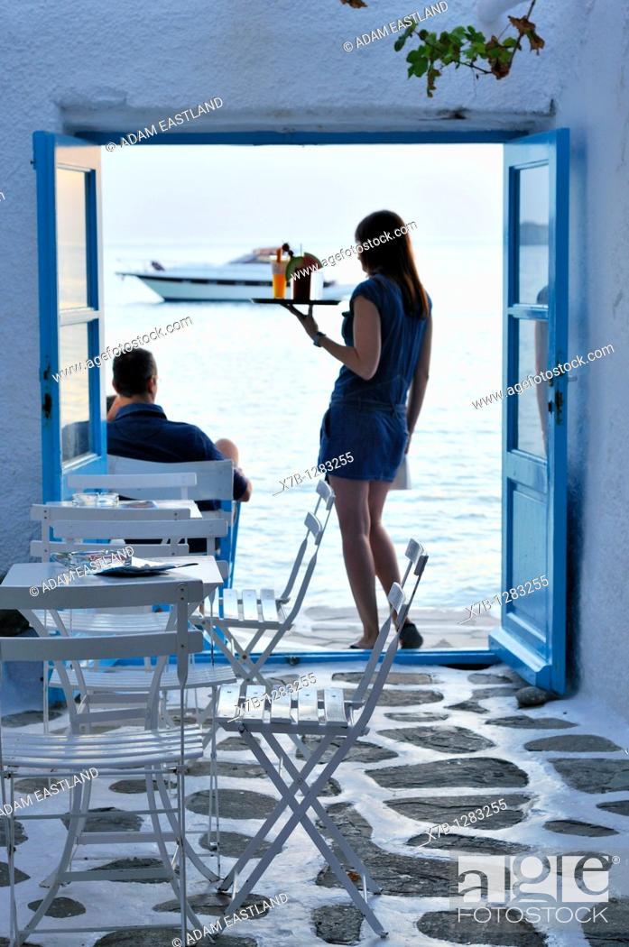 Stock Photo: Mykonos  Greece  Kastro / Little Venice, Caprice Bar.