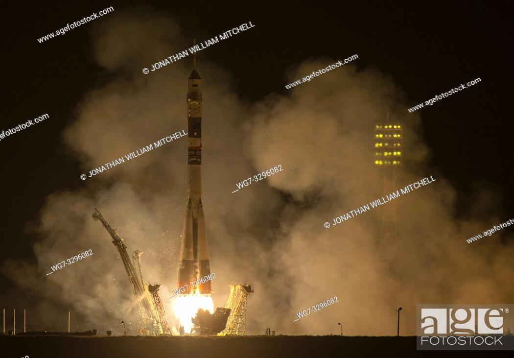 Stock Photo: The Soyuz TMA-14M rocket is launched with Expedition 41 Soyuz Commander Alexander Samokutyaev of the Russian Federal Space Agency (Roscosmos) Flight Engineer.