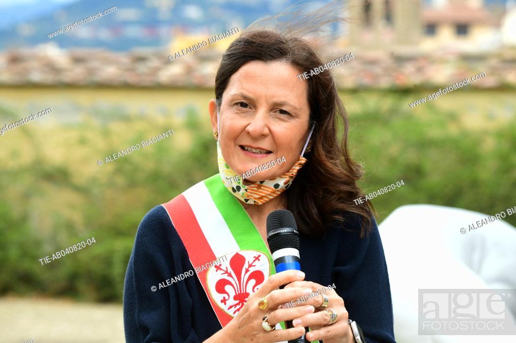 Stock Photo: Deputy mayor of Florence Cristina Giachi during the presentation of the artwork ' Give ' to the Boboli Gardens , Florence, ITALY-04-08-2020.