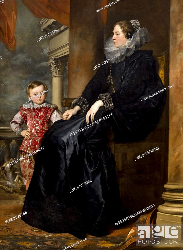 Stock Photo: A Genoese Noblewoman and Her Son, Sir Anthony van Dyck, circa 1626, National Gallery of Art, Washington DC, USA, North America.