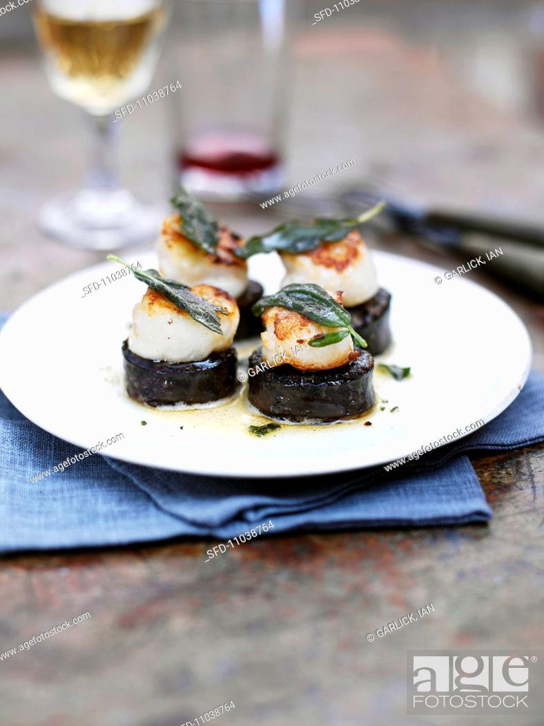 Stock Photo: Scallops with sage on black pudding.