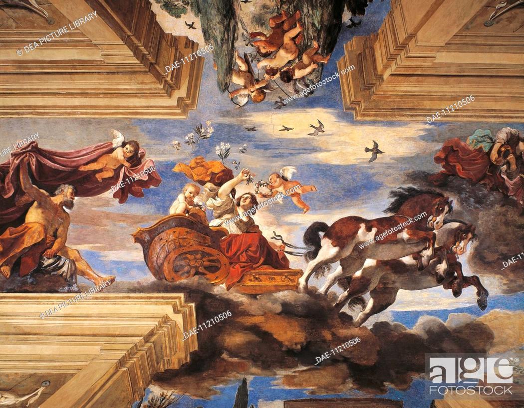Stock Photo: Aurora, 1621, by Giovanni Francesco Barbieri, known as Guercino (1591-1666), fresco. Casino of the Villa Ludovisi, Rome.