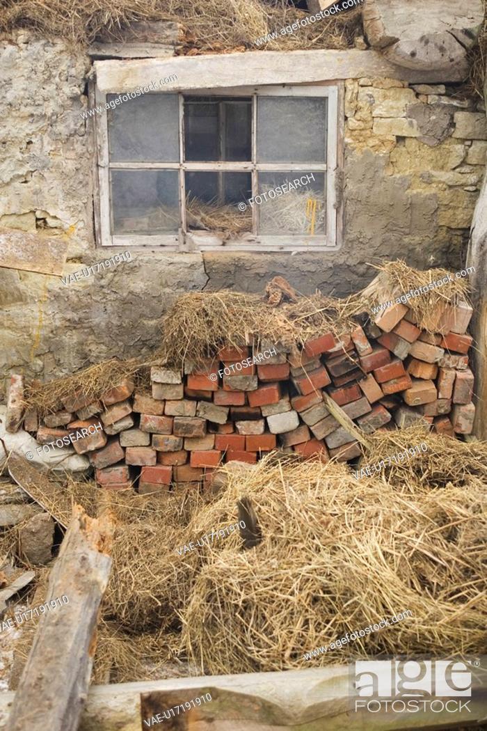 Stock Photo: Brick, House, Glass, Day, Abandoned.