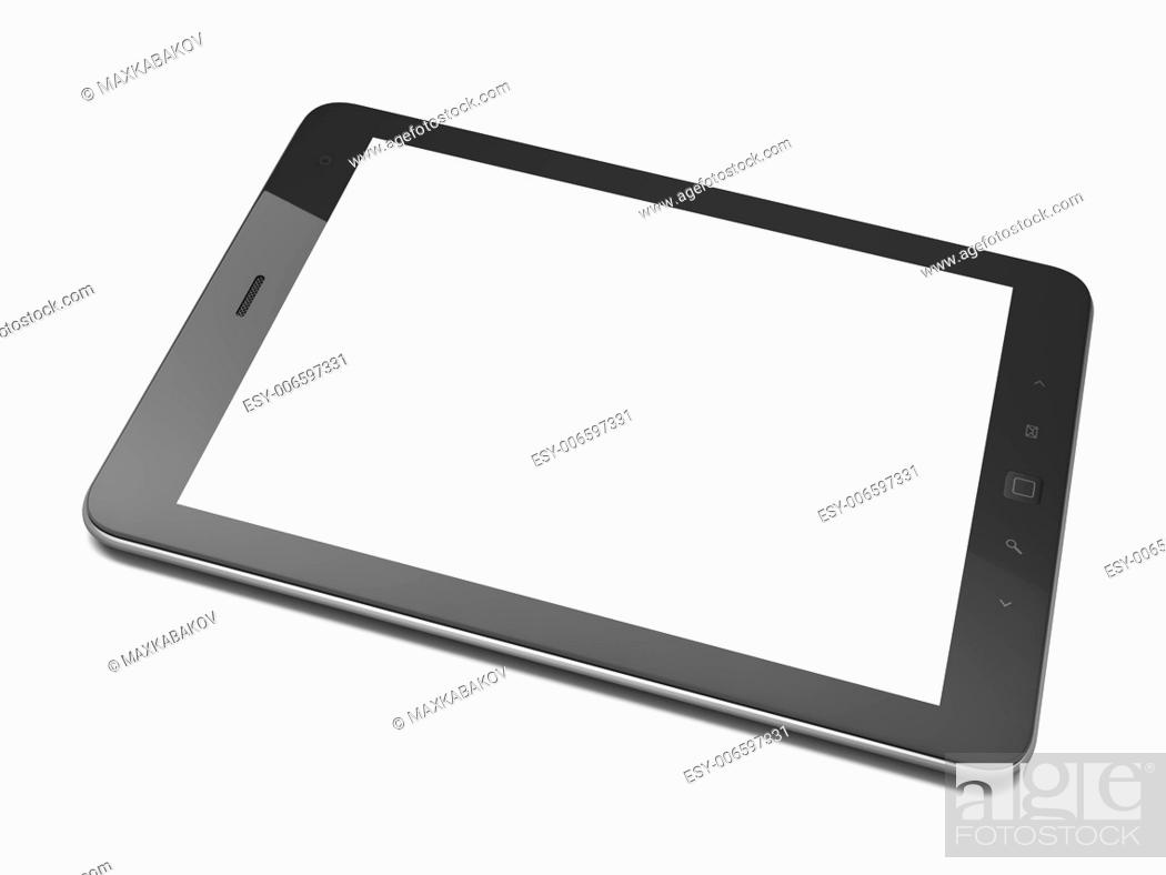 Stock Photo: High-detailed black tablet pc on white background, 3d render.