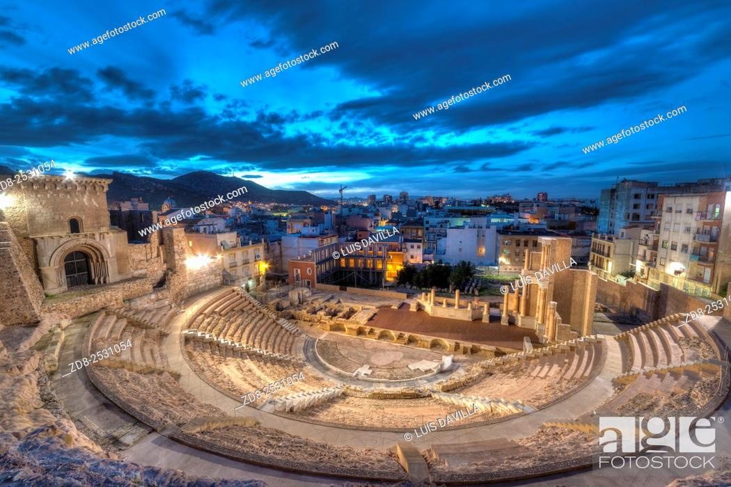 Stock Photo: The discovery and excavation of the Roman Theatre of Cartagena is one of the most surprising archaeological discoveries of the city. .