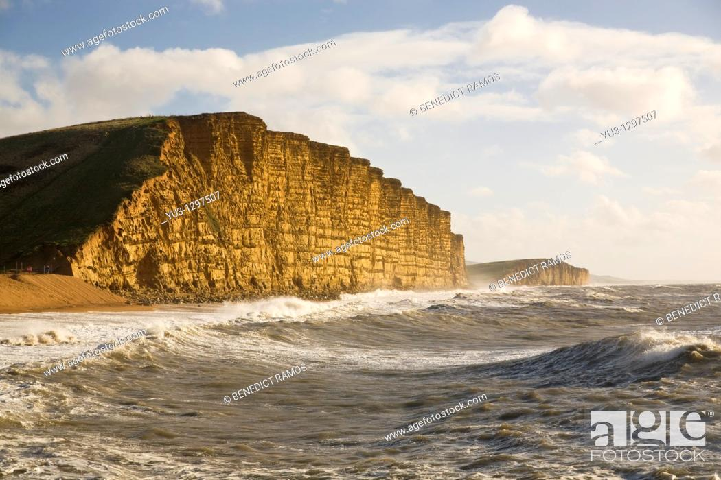Stock Photo: View of the East Cliffs, West Bay, near Bridport, Dorset, England, UK.