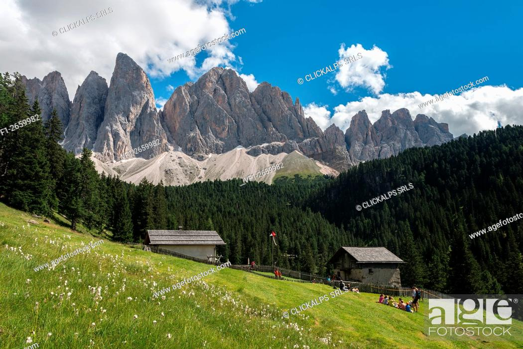 Imagen: Funes Valley, Dolomites, South Tyrol, Italy. The Dussler Alm and the peaks of the Odle.