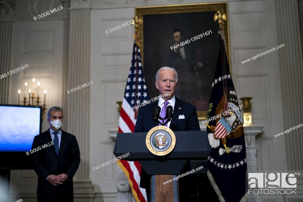 Stock Photo: United States President Joe Biden delivers remarks on the fight to contain the COVID-19 pandemic in the State Dining Room of the White House, Tuesday.