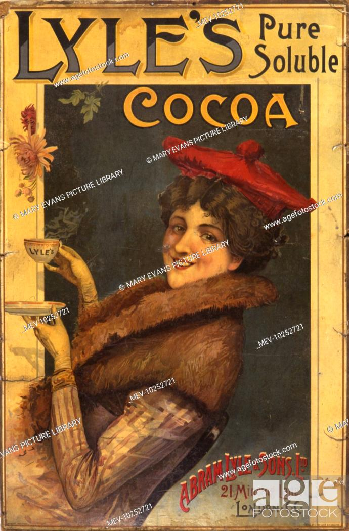 Stock Photo: Advertisement showing a smiling young woman wearing a tam o'shanter and fur collar coat holding a steaming hot cup of Lyle's Cocoa made by Abram Lyle & Sons Ltd.