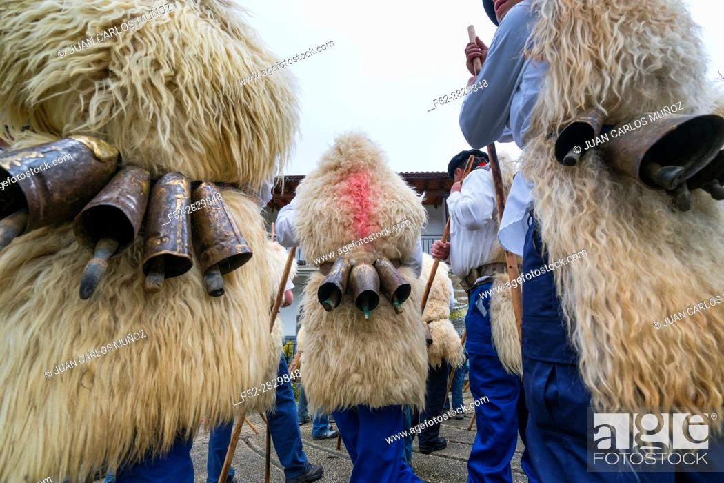 """Stock Photo: """"Las Marzas"""" (traditional songs celebrating the arrival of spring), Soba Valley, Cantabria, Spain, Europe."""