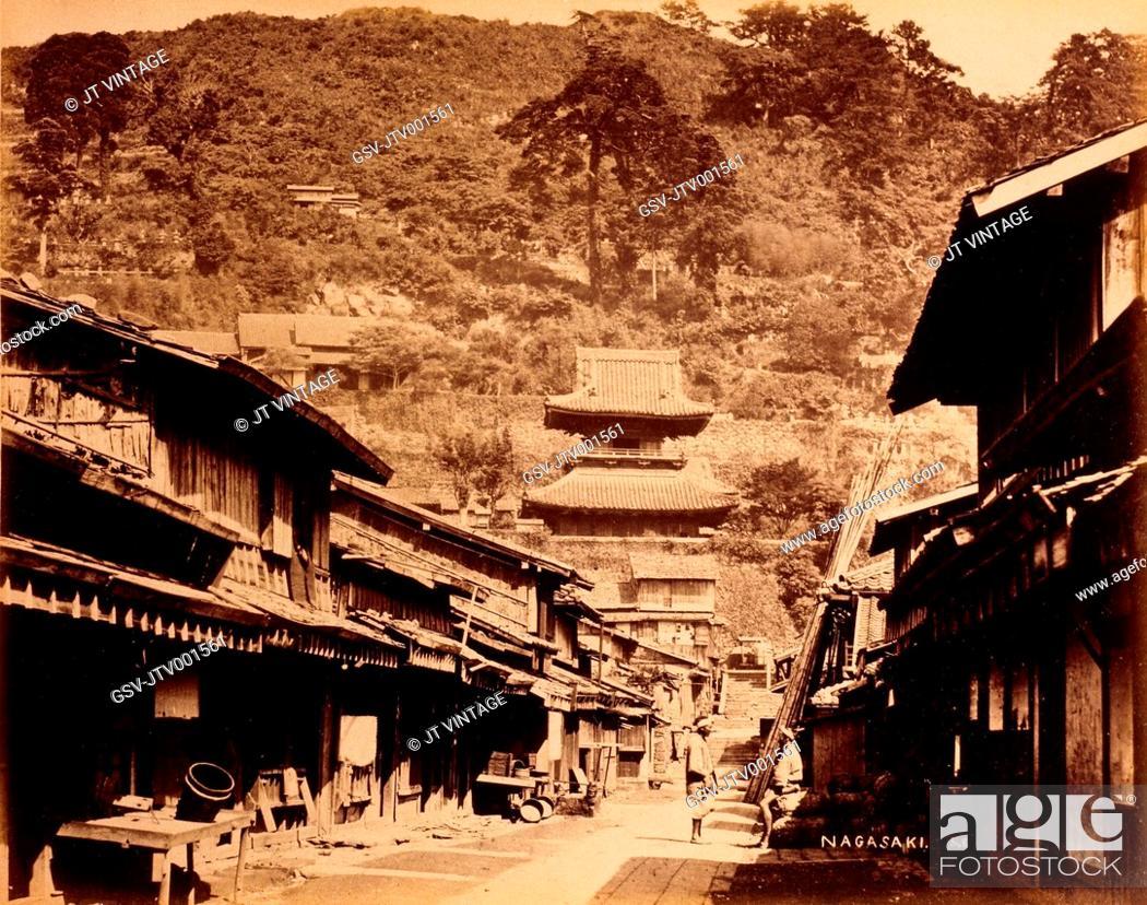 Stock Photo: Street Scene, Nagasaki, Japan, Circa 1880.