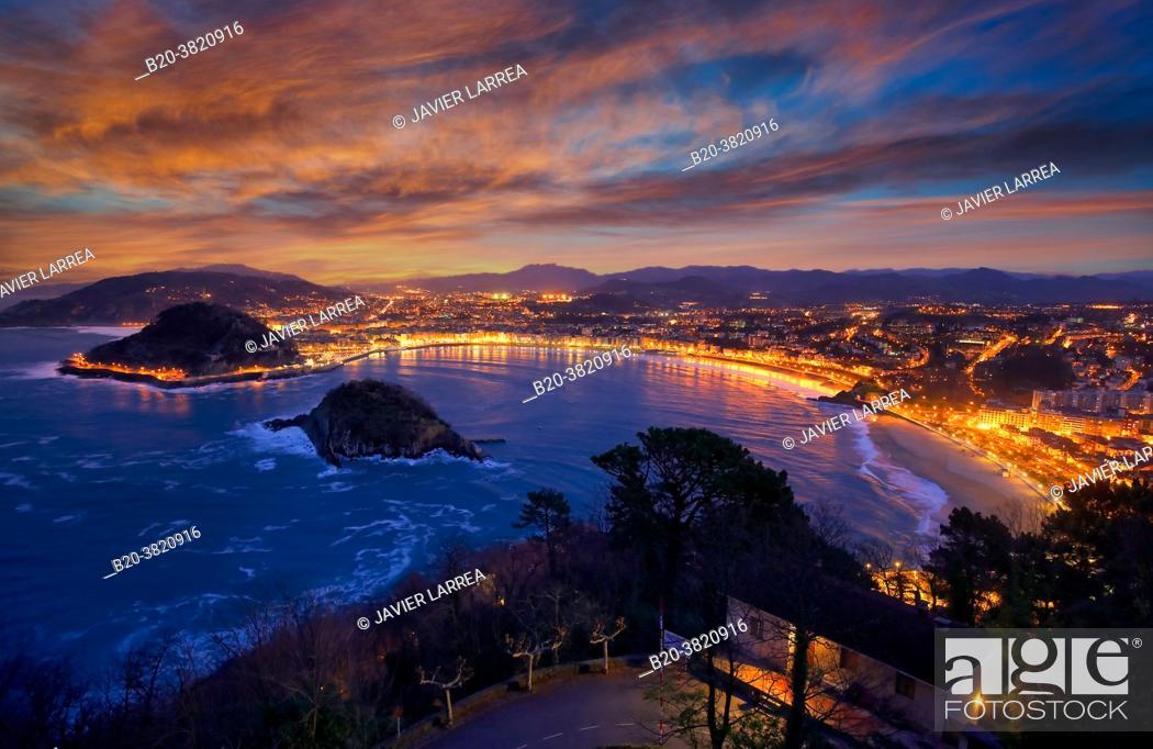 Stock Photo: La Concha Bay, View from Mount Igeldo, Donostia, San Sebastian, Gipuzkoa, Basque Country, Spain.
