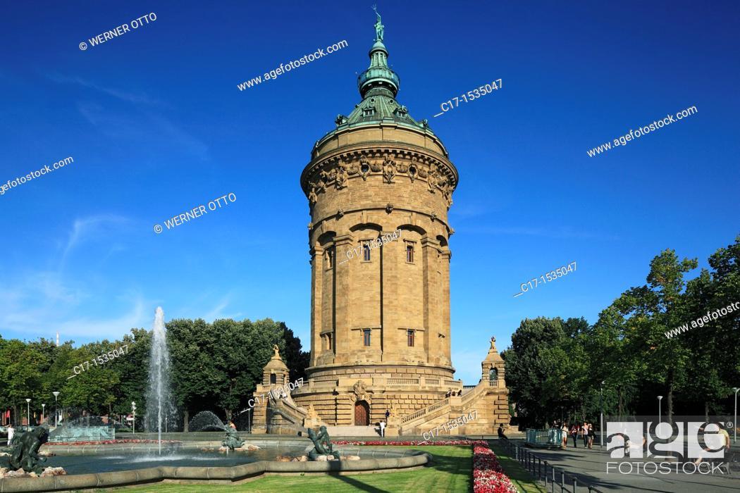 Stock Photo: Germany, Mannheim, Rhine, Neckar, Rhine-Neckar area, Baden-Wuerttemberg, water tower, architect Gustav Halmhuber, monumental building, neo-baroque, art nouveau.