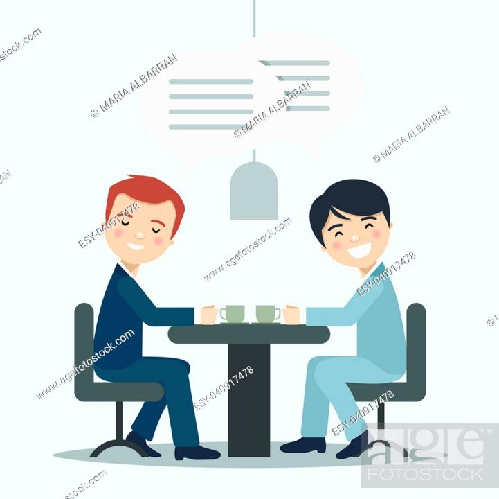 Stock Vector: Two businessman talking about work in a cafe. Vector illustration.