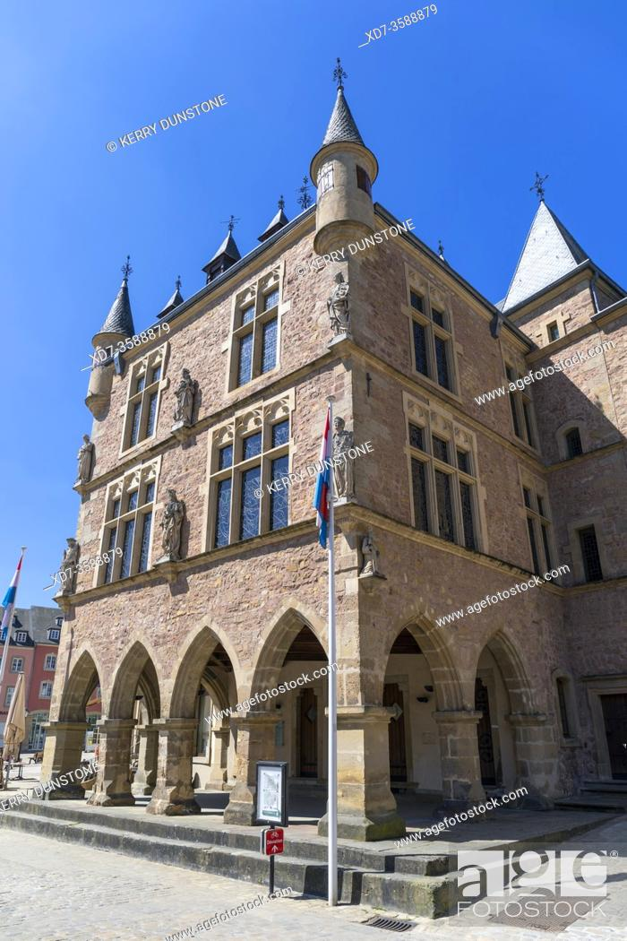 Stock Photo: Europe, Luxembourg, Echternach, Denzelt or Dingstuhl (Gothic Courthouse Building) on the corner of Place du Marche.