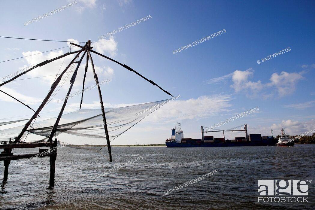 Stock Photo: Chinese fishing nets at a harbor, Cochin, Kerala, India.