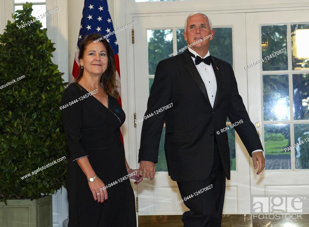 Stock Photo: United States Vice President Mike Pence and Karen Pence arrive for the State Dinner hosted by United States President Donald J.