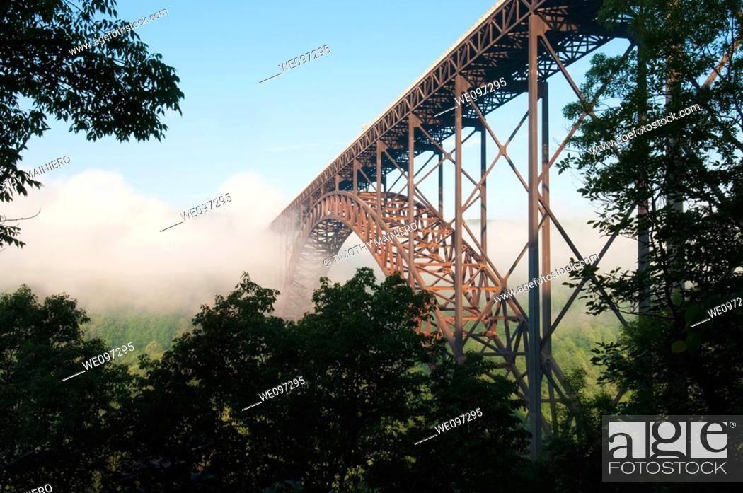 Stock Photo: Beautiful view of the New River Gorge Bridge in West Virginia  The largest Steel-Arch bridge in the Western Hemisphere.