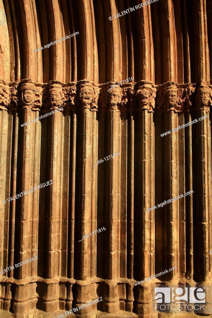 Stock Photo: Detail of the church main front, Mora de Rubielos, Teruel province, Aragon, Spain.