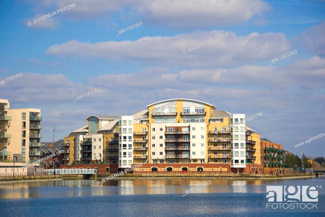 Stock Photo: Riverside properties near Roath Basin, Cardiff Bay, Cardiff, Caerdydd, South Glamorgan, Wales, United Kingdom, Europe.