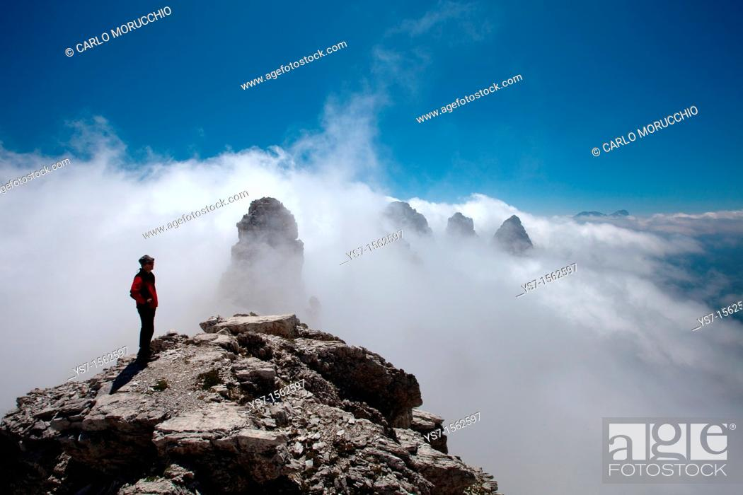 Stock Photo: Panoramic view from the top of Sfornioi nord peak in the Belluno Dolomites, Unesco world natural heritage site, Italy, Europe.