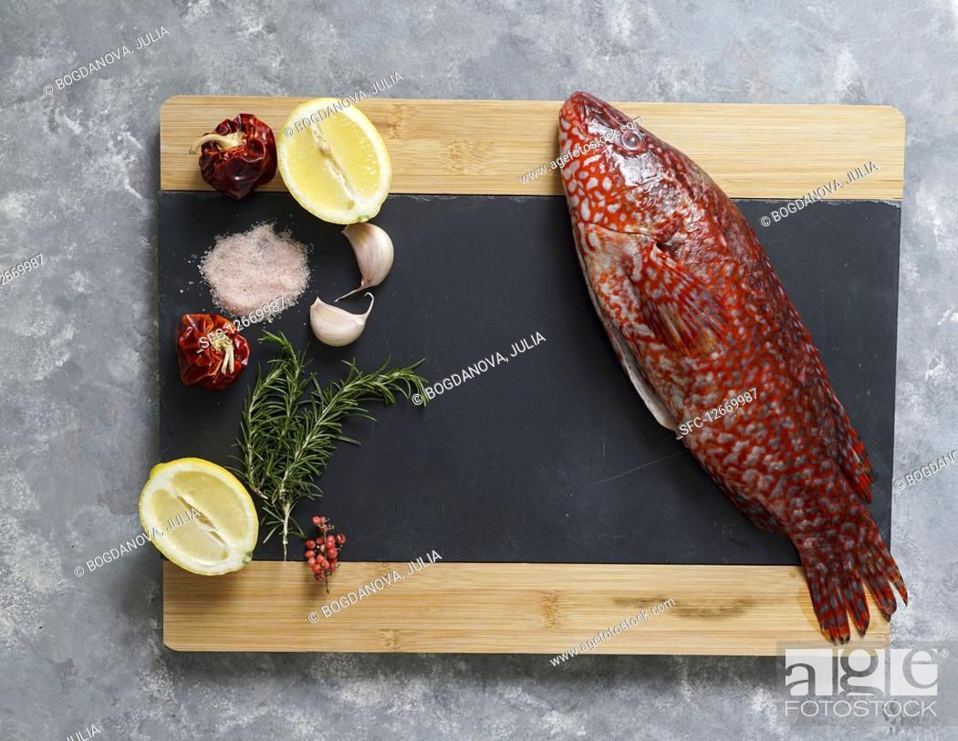 Stock Photo: Red fish, Ballan wrasse raw fresh ready to be cooked.