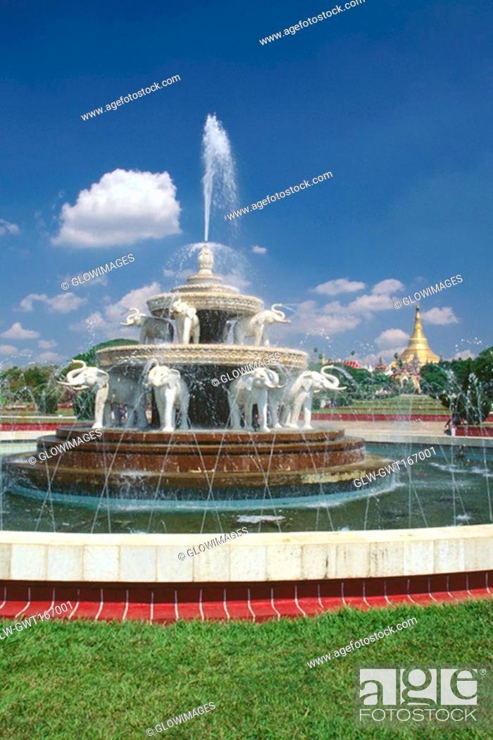 Stock Photo: Fountain in a park, Yangon, Myanmar.